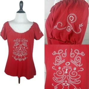 Red Folklore Boho Embroidered Gypsy Top